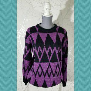 Snap Vtg Abstract Geometric Metallic Knit Sweater